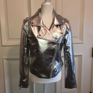 Metallic silver Moto jacket with tags